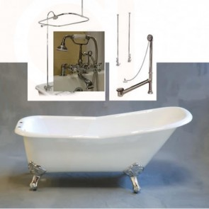Acrylic Slipper Style 5-1/2' Claw Tub, British telephone style faucet with shower enclosure