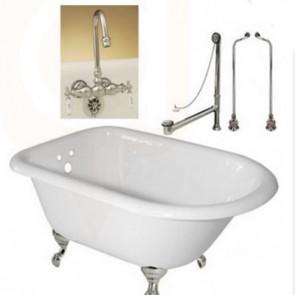 Cast Iron Classic 5' Claw Tub, Gooseneck Faucet