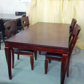 Cherry Red Wood w/6 Chairs