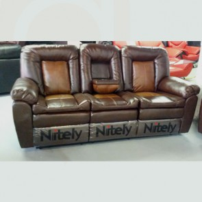 Light Brown Leather Match 3 Seat Recliner Sofa