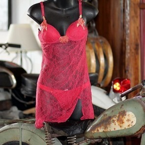 Sheer Lace Red Slip & Panties
