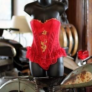 Red Rose Corset Set
