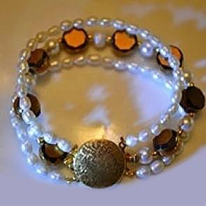 Freshwater Pearl /  Brass Bead  Bracelets