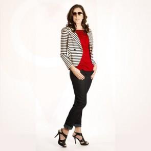 Ponte Stripe Knit Jacket #320, Skinny Jean #599