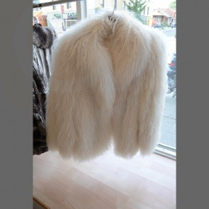 White Mongolian Lamb Long Fur Coat