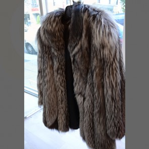 Silver Fox Fur Long Coat