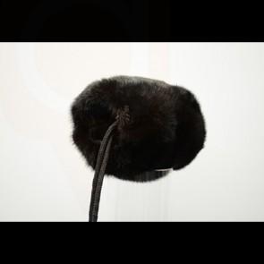 Black Mink Fur Barrel Muff