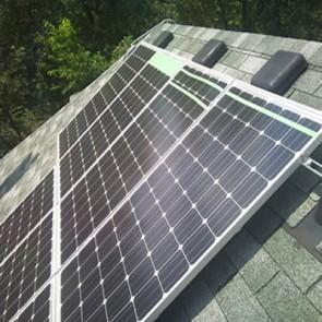 Solar energy power installation on steep roof