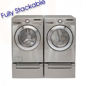 LG Washer / Dryer Steam Stackable Front Load (Stainless Steel and White)