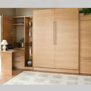 Single Hardrock Maple Murphy bed with side cabinets