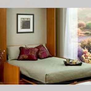 Queen Candlelight Murphy bed with side cabinets