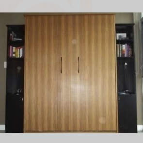Clear finish Zebrano Murphy Bed & side cabinets